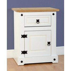 Corona 1 Drawer 1 Door Bedside Chest in White