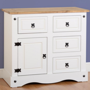 Corona 1 Door 4 Drawer Sideboard in White