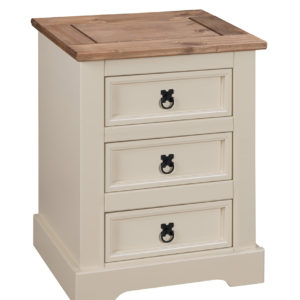 Corona 3 Drawer Bedside in Cream